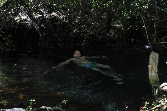 swimming in the river head